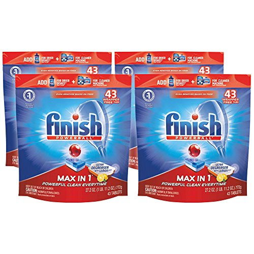 Finish Max in 1 Powerball, 172ct, Ultra-Degreaser w. Lemon Dishwasher Detergent Tablets (Jungle Finish)