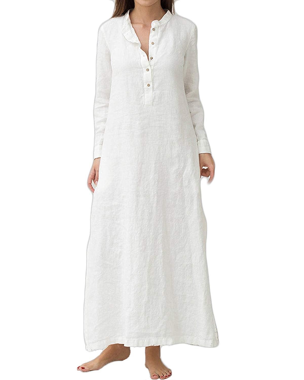 VONDA Womens Cuffed Sleeve Button Down Slit Hem Denim Shirt Dress with Pockets VONDAzroeuk2089