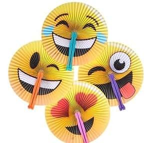 Neliblu 1 Dozen Emoticon Folding Fans - Emoji Party Supplies - Party Favors - Fans - Goody Bag Fillers