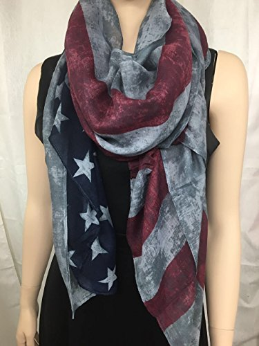 Vintage Faded American Scarf White