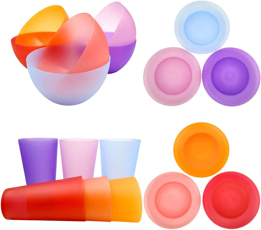 Plastic Dinnerware Unbreakable Plastic Tumblers, Bowls & Plates Dinnerware Set   Set of 18 in 6 Assorted Color   Dishwasher safe, BPA Free