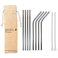 Reusable Straws - Eco-Friendly, Non-Toxic, Washable Stainless Steel Drinking Straws. Set of 8 Metal Straws, 2 Cleaning Brushes + an EXCLUSIVE Globi Carry Bag. Great for Cocktails & Juices.