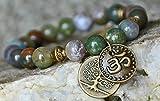 India Agate Gemstone Mala Bracelet, Tree of Life, Yoga OM stack bracelet, healing meditation bracelet,buddhist jewelry