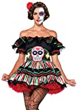 Leg Avenue Women's 2 Piece Day Of The Dead Doll Costume, Black/Multi-Colored, X-Large