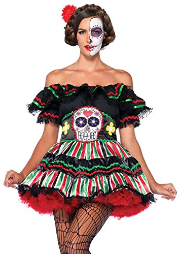 Leg Avenue Women's 2 Piece Day Of The Dead Doll Costume, Black/Multi-Colored, Small/Medium]()