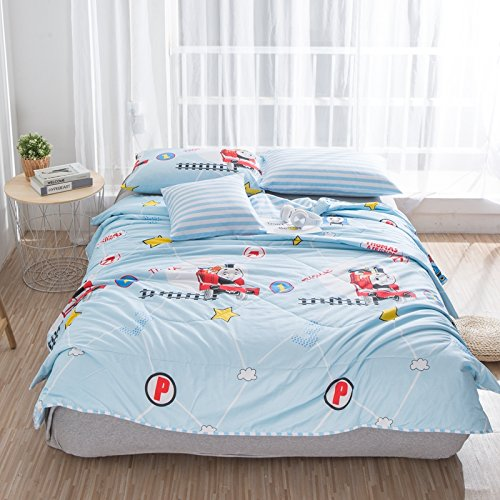 KFZ Quilt Comforter Cotton Bedspread Bed Cover for Bedding Set Quilted Quilt CJF twin Full Queen Animal Puggy Rabbit Thomas Design for Adults Kids Teens 1pc (Thomas Train, Blue, Twin 59''x79'')