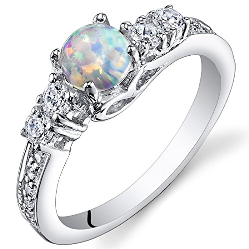 Peora Created Opal Ring Sterling Silver Round Cabochon 0.50 Carats Sizes 5 to 9