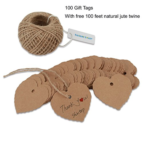 Shintop 100PCS Kraft Paper Gift Tags Bonbonniere Favor Thank