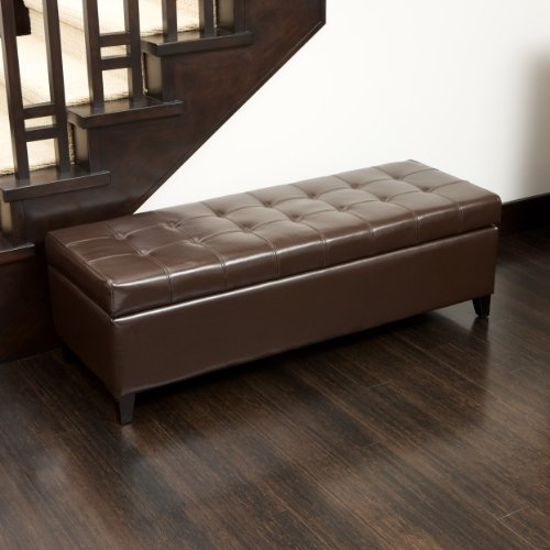 Best Selling Mission Brown Tufted Leather Storage Ottoman