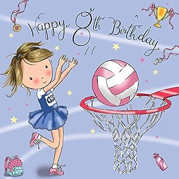 Twizler 8th Tarjeta de cumpleaños para chica con Netball ...