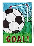 Evergreen Applique Soccer Goal Garden Flag, 12.5 by 18 inches