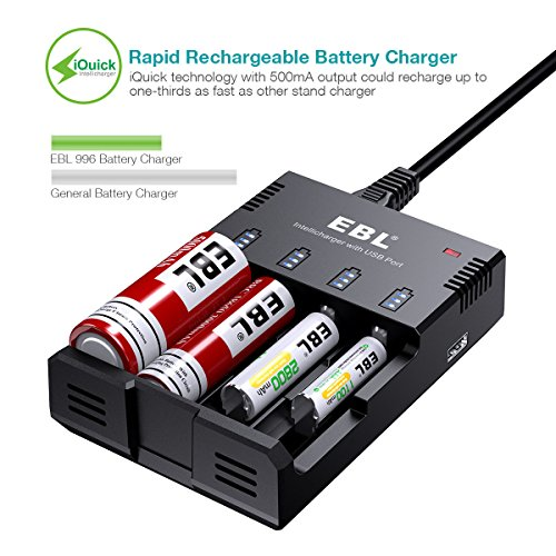 EBL iQucik Battery Charger for Li-ion 26650 18650 IMR/LiFePO4/Ni-MH/Ni-Cd AA AAA C Rechargeable Batteries post thumbnail