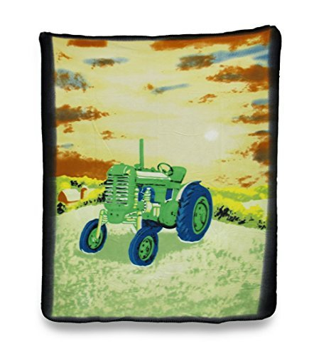 Soft Green Country Farm Tractor Fleece Throw Blanket 60 X 50 In. ()