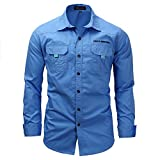 K-Men Men's Hiking Camping Shirts Quick Dry Blue Long Sleeve Work Top X-Large