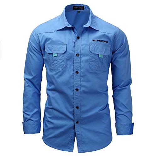 Gold Standard 68 (K-Men Plus Size Men's Ripstop Sport Long Sleeve Button Down Work Shirt 3XL, Blue)
