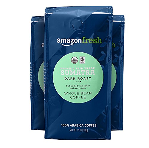 AmazonFresh Fair Trade Organic Sumatra Coffee, Dark Roast, Whole Bean, 12 Ounce, Pack of 3