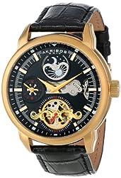 Akribos XXIV Men's AK541YG Mechanical Dual Time Open Heart Leather Strap Watch