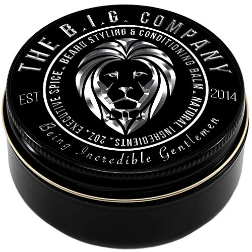 Beard Balm Leave-in Conditioner with Natural Bees Wax, Jojoba & Argan Oil - Styles, Softens, Strengthens & Thickens for Healthier Beard Growth & Mustache - 2 oz - The B.I.G. Company ()