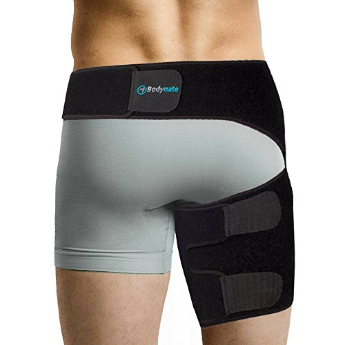 Bodymate  Compression Brace For Hip  Sciatica Nerve Pain Relief Thigh Hamstring  Quadriceps  Joints  Arthritis  Groin Wrap For Pulled Muscles  Hip Strap  Sciatica Brace Si Belt For Men  Women