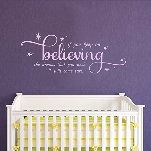 "Teisyouhu Wall Art Decal Wall Quote Decal If You Keep On Believing Girls Nursery Fairytale Inspirational Quote Decor 22"" h x56 w Hydrangea Purple Letterting Wall Sticker Decor"