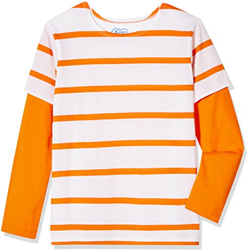 A for Awesome Boys Long Sleeve 2fer Striped Tee Medium Orange - Apparel Tees
