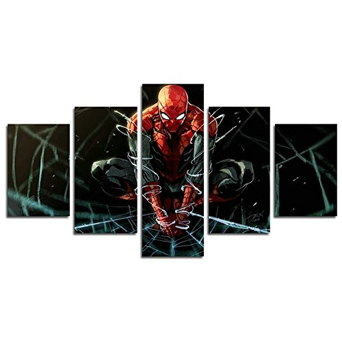 AtfArt 5 Piece Spiderman Super Hero painting for living room home decor Canvas art wall poster (No Frame) Unframed HB60 inch x30 inch
