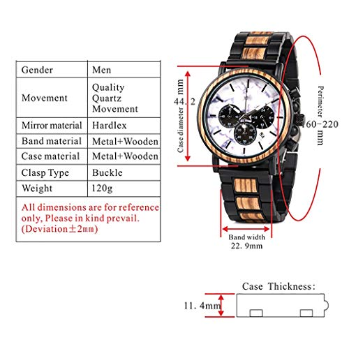 HJG träklocka kvartsur tre-öga-multifunktion-Miyota rörelse herrklocka klocklåda (färg: B)