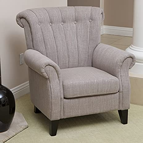 Haywood Channel Backed Light Mocha Fabric Club Chair