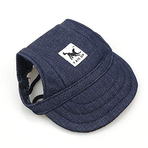Leson Baseball Caps Hats with Neck Strap Adjustable Comfortable Ear Holes for Small Medium and Large Dogs in Ourdoor Sun Protection (S, Blue Jeans)