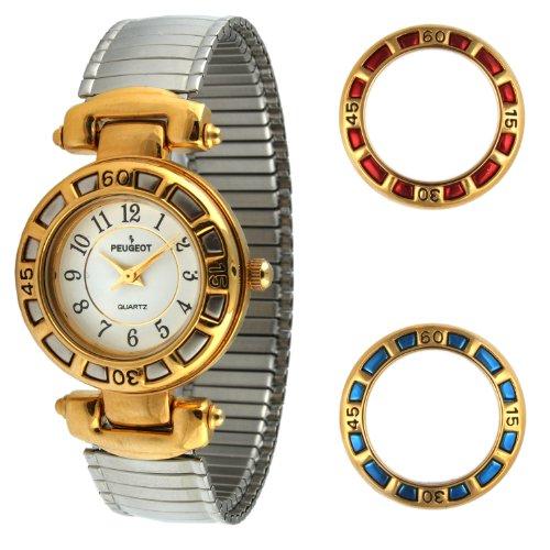 Peugeot Women's 641 Two-tone Interchangeable Bezel Expansion Bracelet Watch