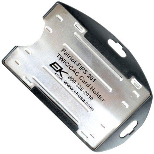 Black Shielded RFID Blocking 2 TWIC / CAC Card Holder by EK - Made in The USA