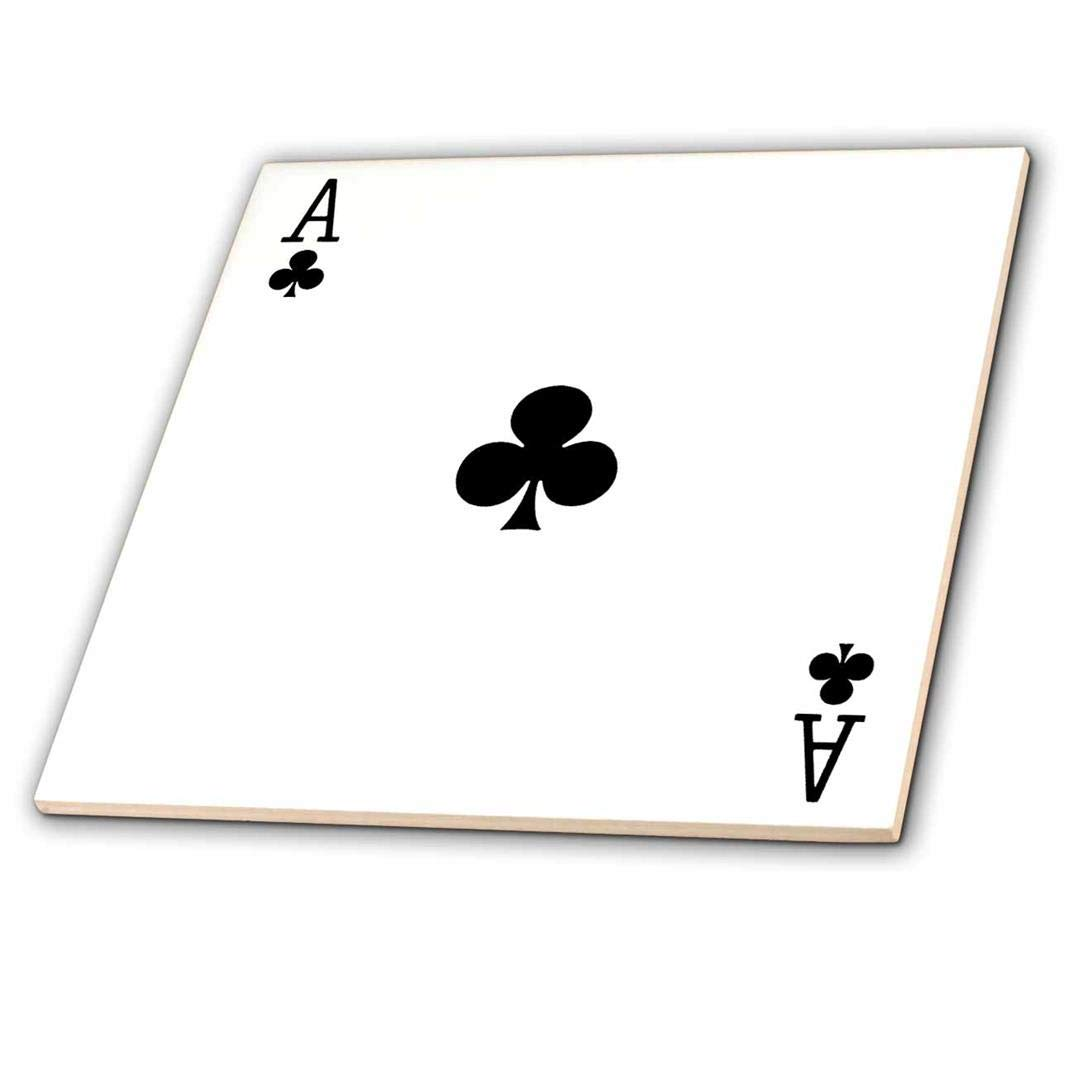 12 3dRose ct/_76549/_4 Ace of Clubs Playing Card-Black Club Suit-Gifts for Cards Game Players of Poker Bridge Games-Ceramic Tile