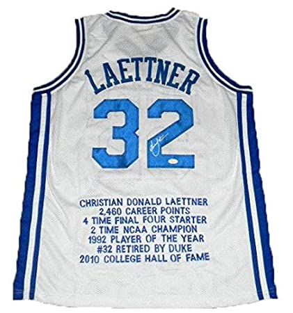 00856ba968c0 Signed Christian Laettner Jersey -  32 White Stat - JSA Certified - Autographed  College Jerseys