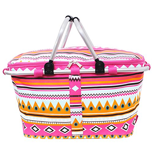 Multi Colored Aztec Tribal Print Insulated Market Picnic Basket-hotpink