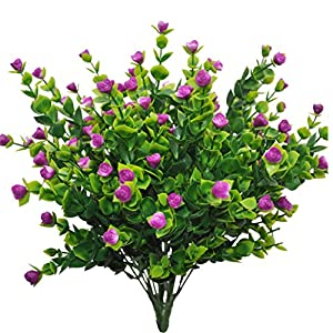 Warmter 4 PCS Artificial Flowers Artificial Plants UV Resistant Plants Cemetery Flowers for Indoor Outdoor Garden Wedding Decor 112