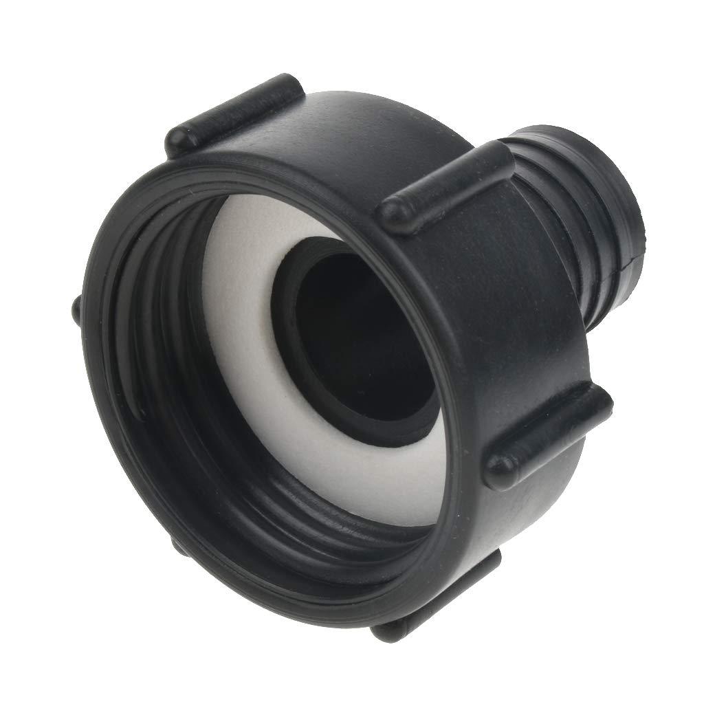 perfk IBC Adapter 2 Coarse Thread Water Tank Garden Hose Adapter Fittings Tool 32mm Black