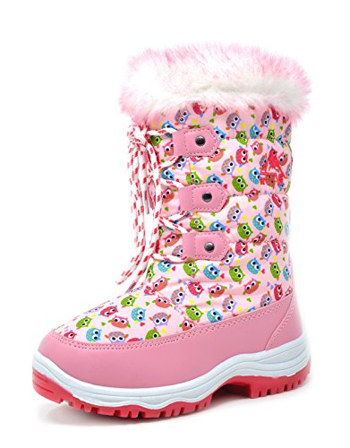 arctiv8 Little Kid Nordic Pink Owl Ankle Winter Snow Boots Size 13 M US Little - Pink Snow Winter Boots