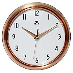 Silent Clock, 9.5 Inch Brushed Copper Retro Wall Clock by Infinity Instruments
