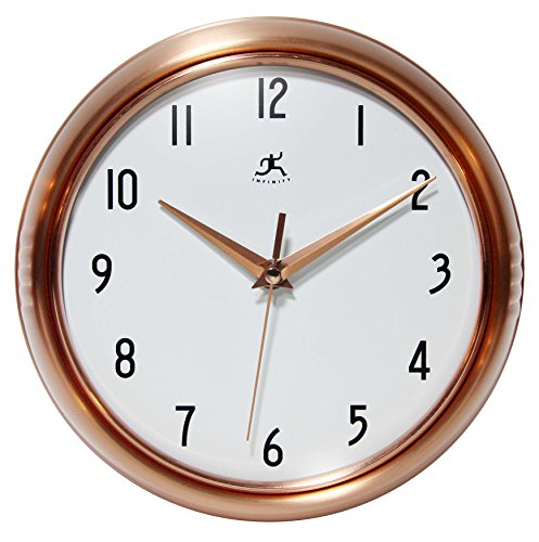 Silent Clock, 9.5 Inch Brushed Copper Retro Wall Clock by Infinity Instruments - 9.25 inch Copper Round Metal Wall Clock for Indoor Use Silent, Non Ticking, Quiet Movement for Peace & Quiet Uses 1 AA Battery (Not Included) For Wireless Display - wall-clocks, living-room-decor, living-room - 51e%2BoCrtH1L -