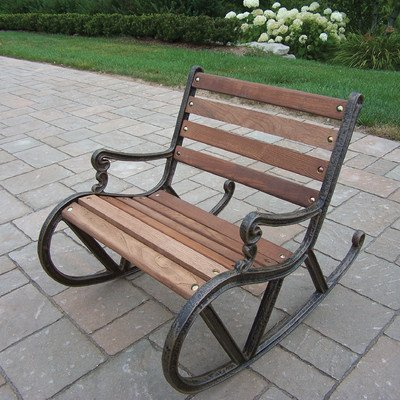 Oakland Living Mini Garden Rocker - Durable Cast Iron and Wood Construction Hardened Powder Coat Finish in Antique Bronze for Years of Beauty Easy to Follow Assembly Instructions and Product Care Information - patio-furniture, patio-chairs, patio - 51e%2BoOs2n1L. SS400  -