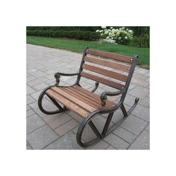 Oakland Living Mini Garden Rocker - Durable Cast Iron and Wood Construction Hardened Powder Coat Finish in Antique Bronze for Years of Beauty Easy to Follow Assembly Instructions and Product Care Information - patio-furniture, patio-chairs, patio - 51e%2BoOs2n1L. SS570  -