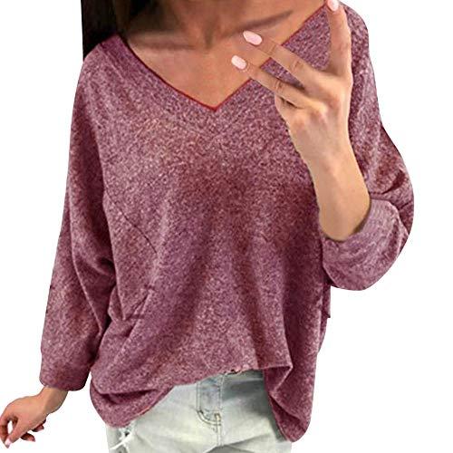 Shusuen ♪ Casual Shirt for Women Solid Tops Blouse Long Sleeve Knitwear with - Xo Blanket Weeknd The