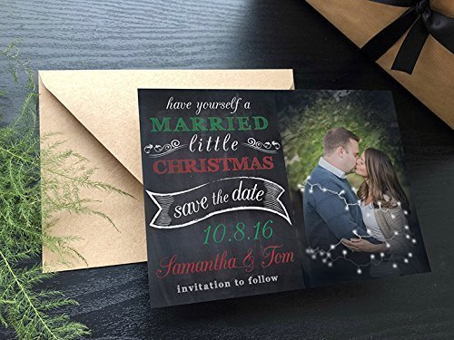 Christmas Save The Date Cards.Amazon Com Married Little Christmas Save The Dates Handmade