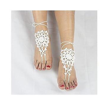 Ttshoushi Frauen Aushöhlen Heraus Barfuß Blumen Häkeln Sandalen