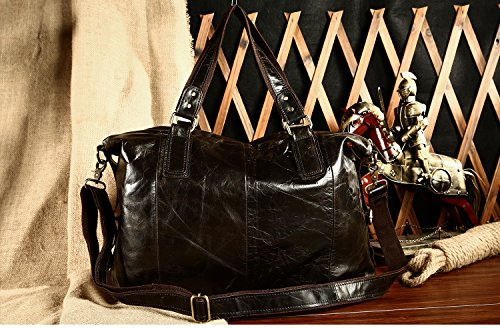 Leather Shoulder Tote Green Big Messenger Bag Genuine Brown Bags Male Casual IxHqwEd1