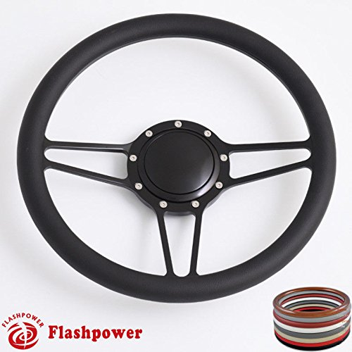 (Flashpower 14'' Billet Half Wrap 9 Bolts Steering Wheel with 2'' Dish and Horn Button(Black))