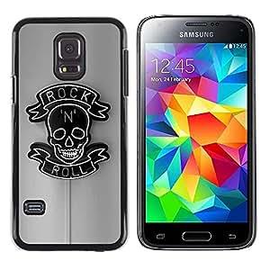 Paccase / SLIM PC / Aliminium Casa Carcasa Funda Case Cover - Rock Roll Grey Black Neon Sign N Skull - Samsung Galaxy S5 Mini, SM-G800, NOT S5 REGULAR!