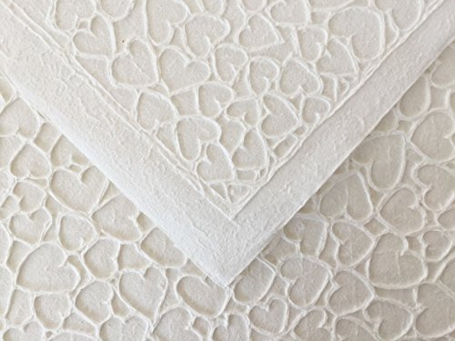 3 Sheets - Eco Friendly Fine Handmade EMBOSSED HEART MULBERRY papers B-564