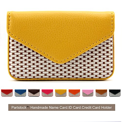 (Partstock Multipurpose PU Leather Business Name Card Holder Wallet Leather Credit card ID Case/Holder/Cards Case with Magnetic Shut.Perfect Gift - Yellow)