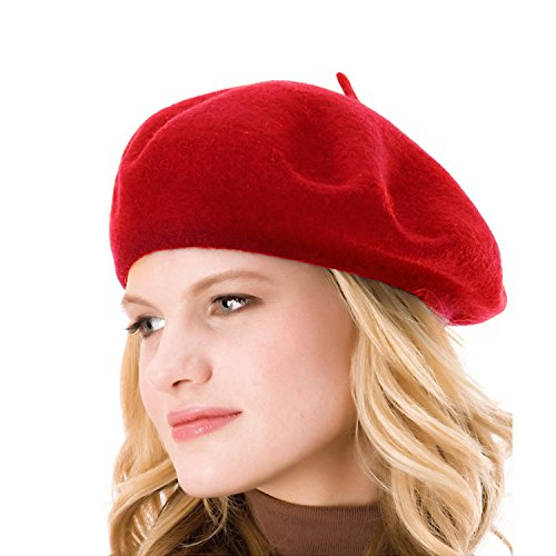 ICSTH Womens Solid Color 100% Wool French Beanie Cap Hat Red